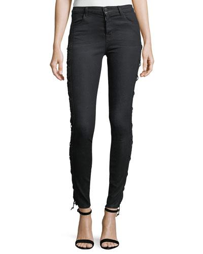 Maria Laced Stretch-Denim Jeans