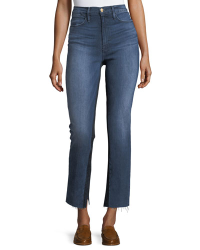 Le High Raw-Edge Split Straight-Leg Jeans