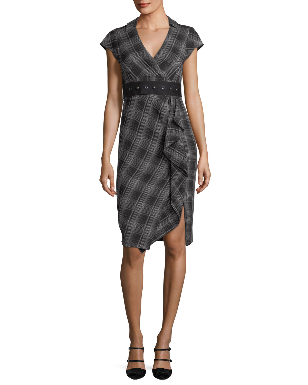 Gloria Cap-Sleeve Plaid Faux-Wrap Dress