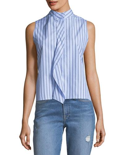 Sleeveless Stand-Collar Cravat Poplin Top