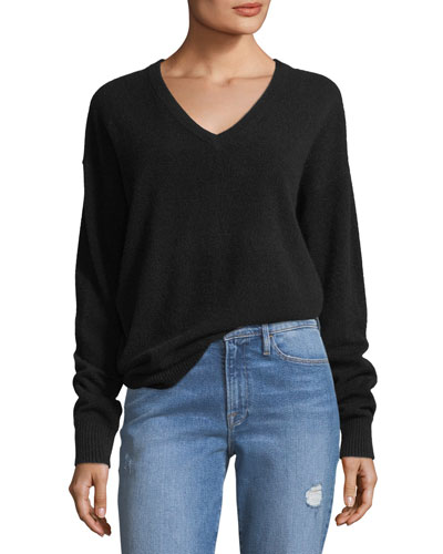 Oversized V-Neck Long-Sleeve Cashmere Sweater