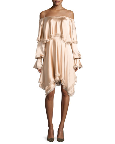 Off-the-Shoulder Long-Sleeve Fluid Sateen Short Dress