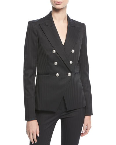 Rue Peak-Lapel Double-Breasted Herringbone Blazer