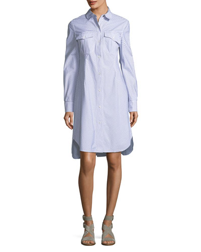 Albion Button-Front Long-Sleeve Striped Poplin Shirtdress