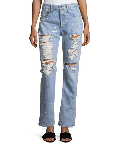 Distressed Studded Straight-Leg Boyfriend Jeans