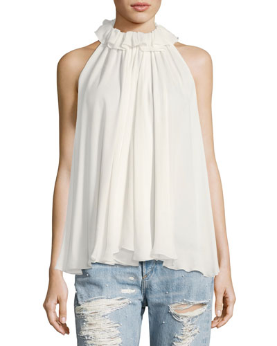Ruffled Sleeveless Chiffon Blouse