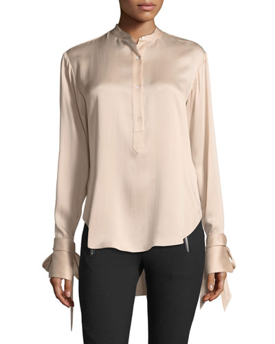 Dylan Button-Front Silk Charmeuse Blouse