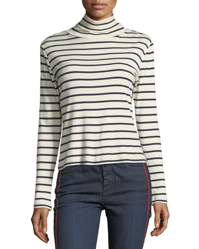Audrey Striped Turtleneck Cotton Top