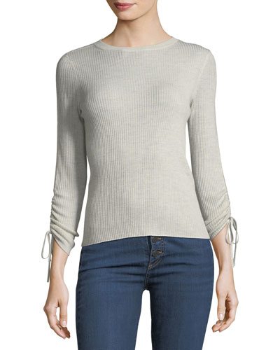 Owen Tubular Drawstring-Sleeve Ribbed Sweater