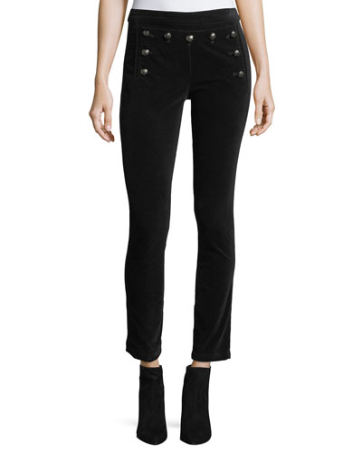 Jane Skinny Velvet Sailor Pants w/ Button Trim