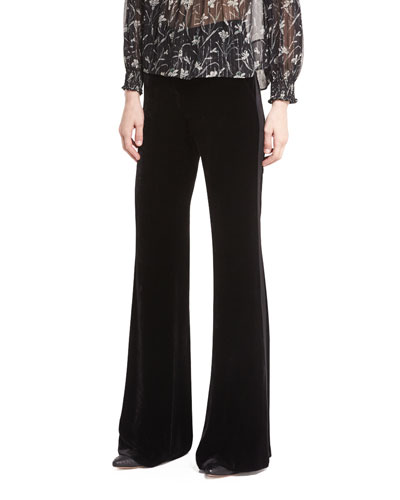 Ramsey Wide-Leg High-Waist Velvet Tux Pants
