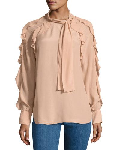 Tie-Neck Ruffled Silk-Blend Blouse