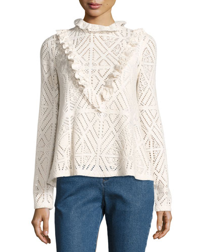 High-Neck Crochet Top w/ Ruffled Trim