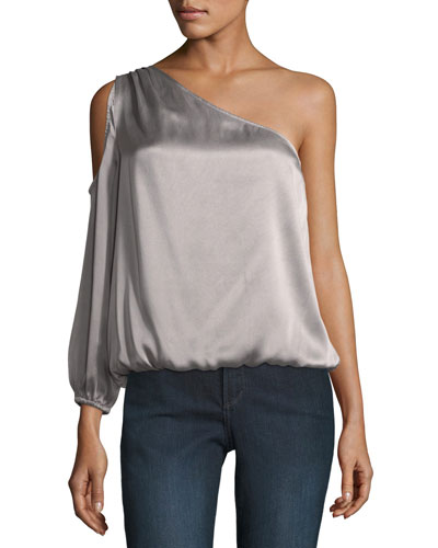 Abatha One-Shoulder Blouson Satin Top