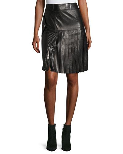 Ebele Pleated Pencil Leather Skirt