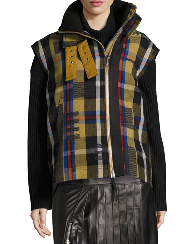 Una Plaid Wool-Knit Jacket w/ Removable Sleeve