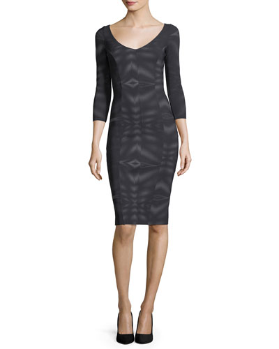 Arethusa 3/4 Sleeve Scoop-Neck Mesh Cocktail Dress