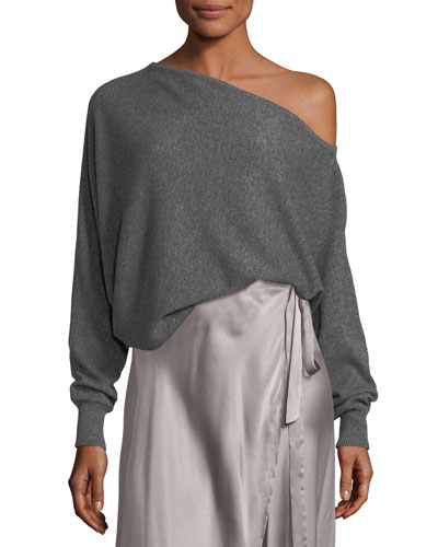 Helice One-Shoulder Cashmere Pullover Sweater