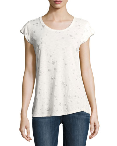 Dillon Scoop-Neck Allover Stars & Moons Cotton Top