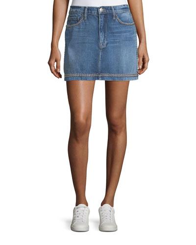 Le Studded Pencil Denim Mini Skirt