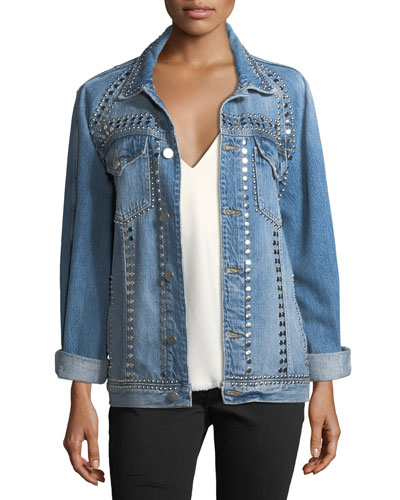 Le-Studded Button-Front Denim Jacket