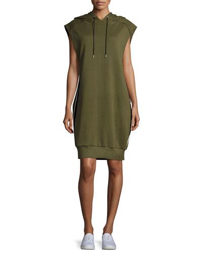 Loren Hooded Side-Stripe Cotton Dress