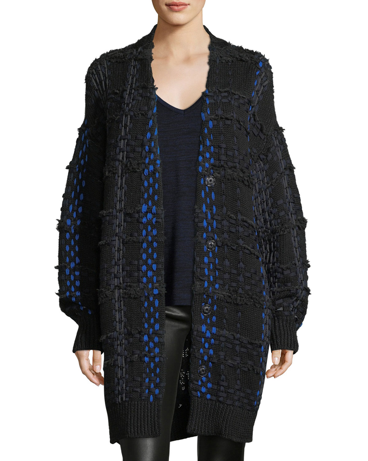Rag & Bone DAWSON WOVEN SNAP-FRONT OVERSIZED CARDIGAN COAT