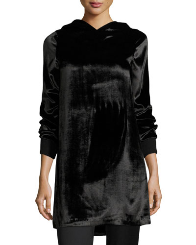 Baron A-Line Hooded Velvet Dress