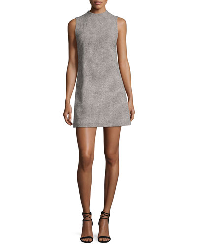 Coley Mock-Neck Straight A-line Mini Dress