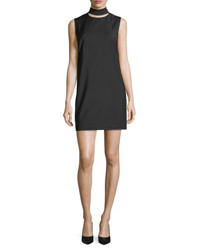 Slit Collar Sleeveless Wool-Blend Dress