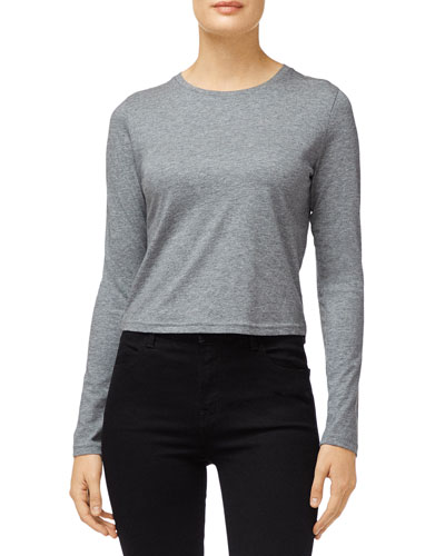 Carolina Long-Sleeve Cropped Cotton Tee