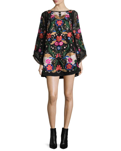 Eleonora Embellished Poet-Sleeve Floral Cocktail Dress