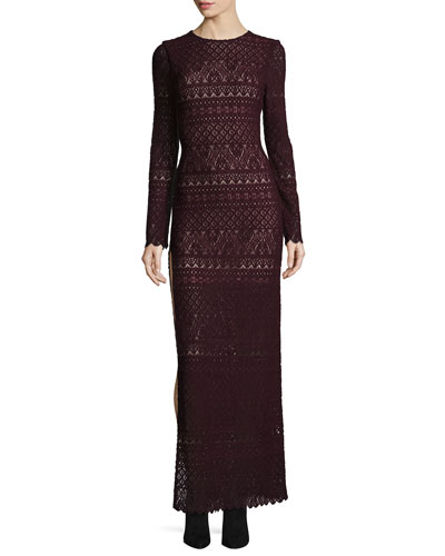Dawna Long-Sleeve High Side-Slit Lace Maxi Dress