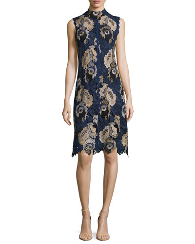 Sleeveless Lace Sheath Dress