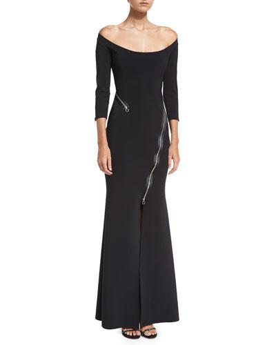 Elektra Zip Off-the-Shoulder Long-Sleeve Evening Gown