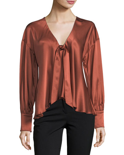 Lentz Tie-Front Long-Sleeve Silk Satin Blouse