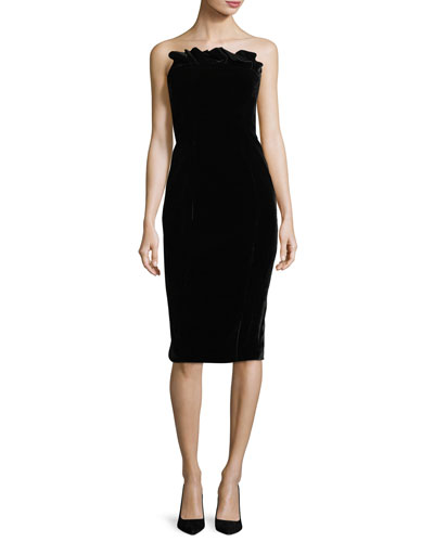 Marceau Strapless Velvet Fitted Cocktail Dress