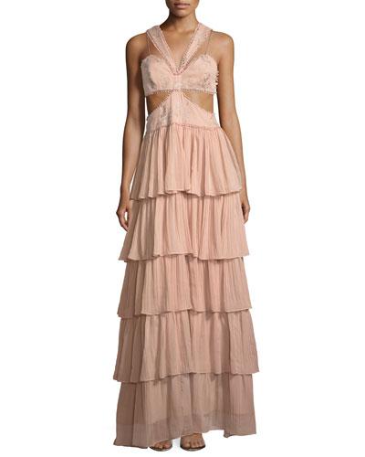 Leda Sleeveless Cutout-Waist Tiered Silk Evening Gown