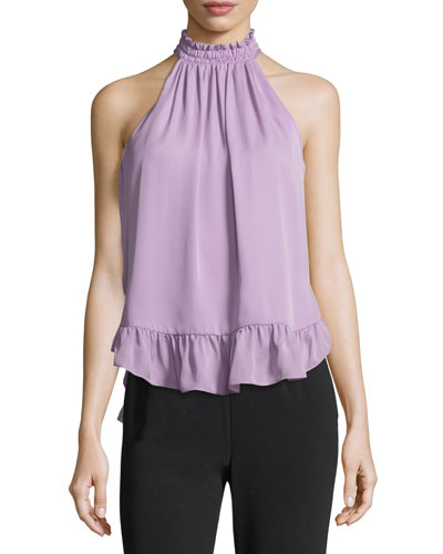 Brie Silk Ruffled Halter Blouse