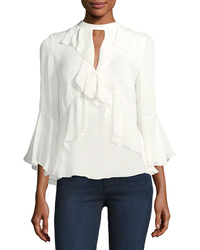 Thea High-Neck Ruffled Silk Top