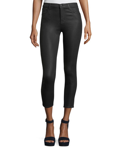 Alana High-Rise Cropped Coated Skinny Pants
