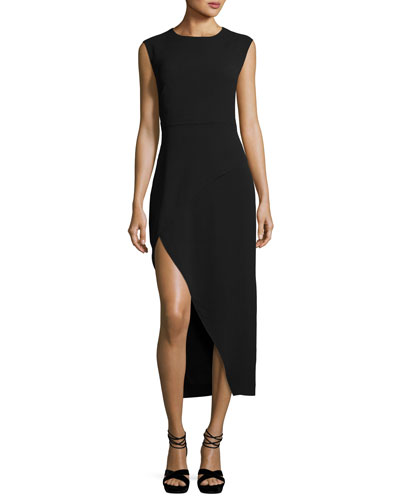 Round-Neck Asymmetric High-Low Crepe Cocktail Dress