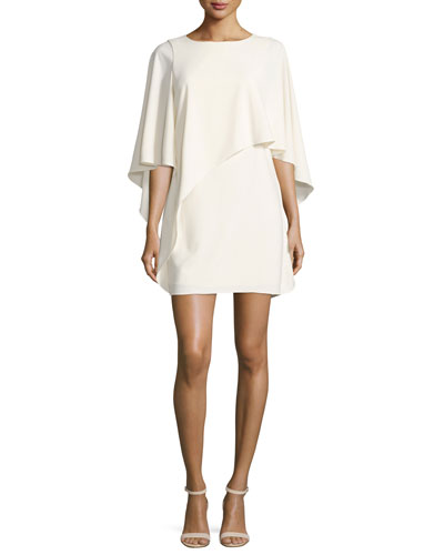 Flowy Boat-Neck Asymmetric Drape Cocktail Dress