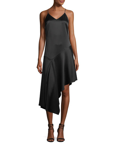 V-Neck Racerback Sleeveless Satin Slip Cocktail Dress