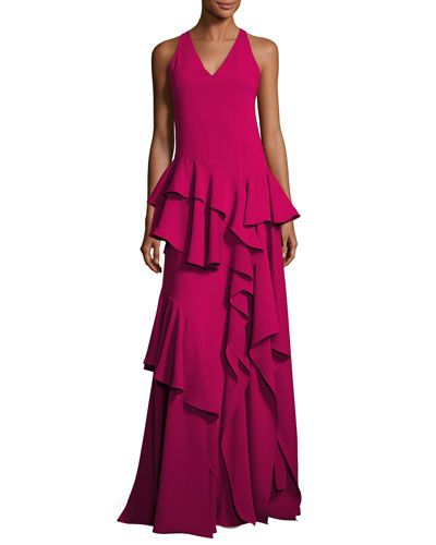 Sleeveless V-Neck Ruffled Flounce Evening Gown