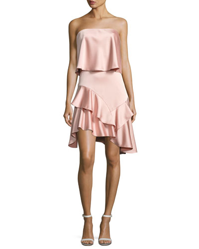 Strapless Flounce Satin Cocktail Dress