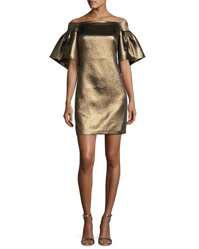 Off-the-Shoulder Metallic Full-Sleeve Cocktail Dress