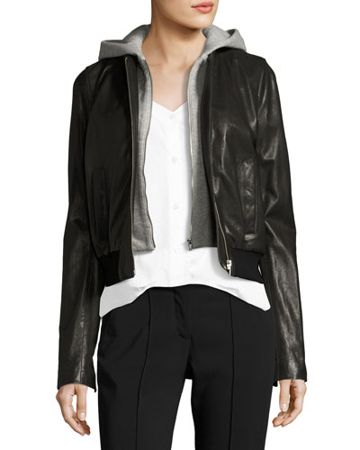 Edison Combo Lamb Leather Moto Jacket w/ Hoodie