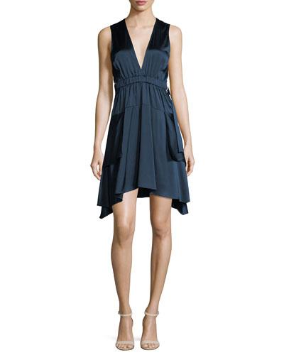 Nahia Deep-V Cutout-Waist Sleeveless Satin Dress