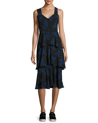 Luna Sleeveless Paisley Tiered Midi Dress